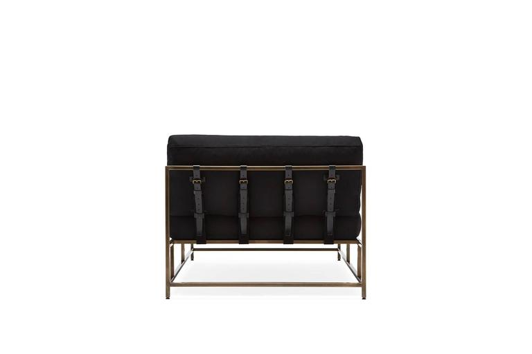Black wool and antique brass chaise lounge for sale at 1stdibs for Antique chaise lounge for sale