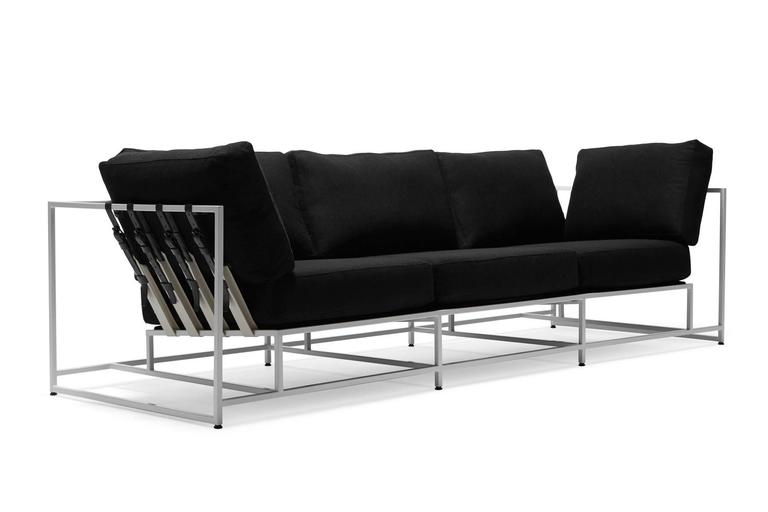American Modern Black Wool and White Sofa For Sale