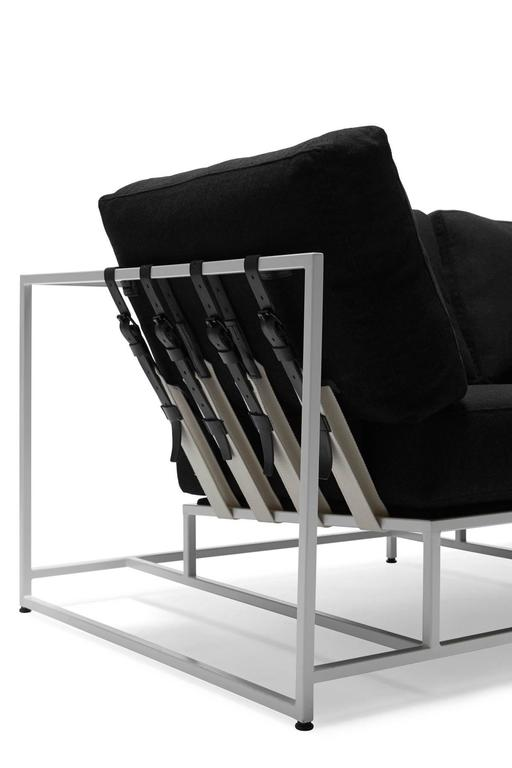 Powder-Coated Black Wool and White Sofa For Sale