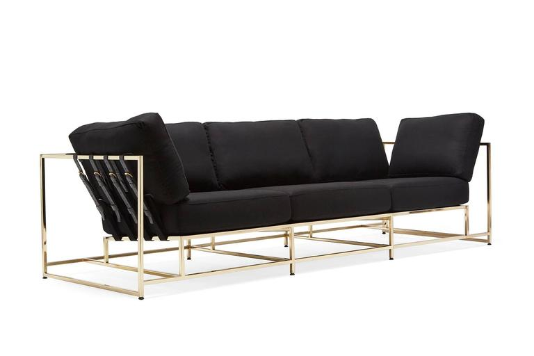 A chic and luxurious version of the Inheritance Collection sofa. Soft black wool cushion covers, black webbing with black leather belts, on a bright polished brass plated frame.  This item is made to order in Los Angeles.  Want a Rose Gold