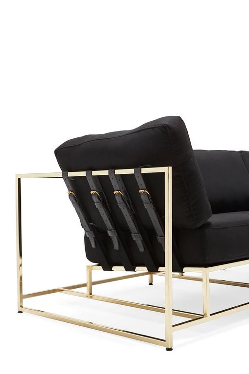 American Black Wool and Polished Brass Sofa For Sale