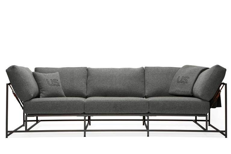 Faribault Grey Wool and Blackened Steel Sofa 4