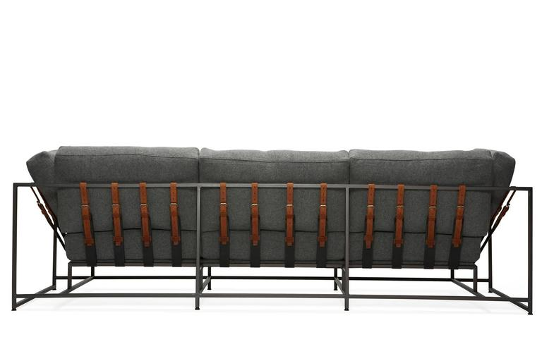 Faribault Grey Wool and Blackened Steel Sofa 2