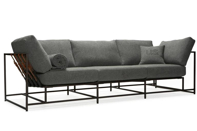 Faribault Grey Wool and Blackened Steel Sofa 5
