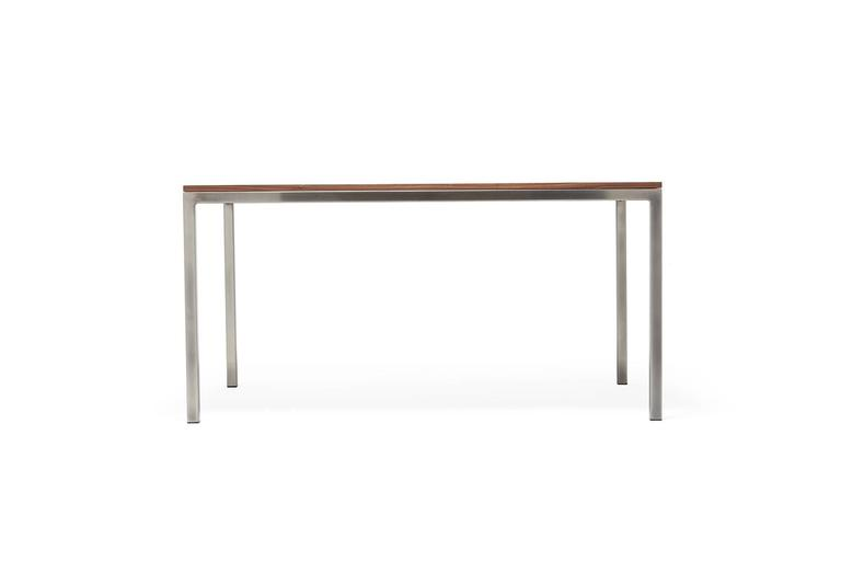 American Walnut and Antique Nickel Small Dining Table For Sale