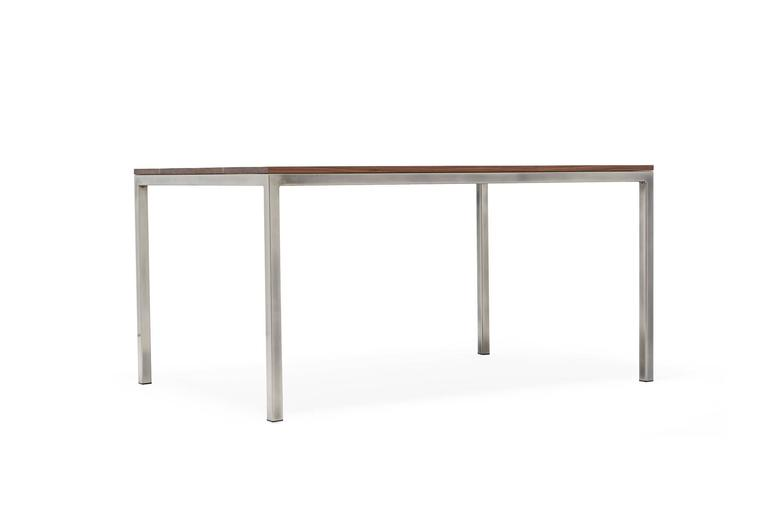 Modern Walnut and Antique Nickel Small Dining Table For Sale