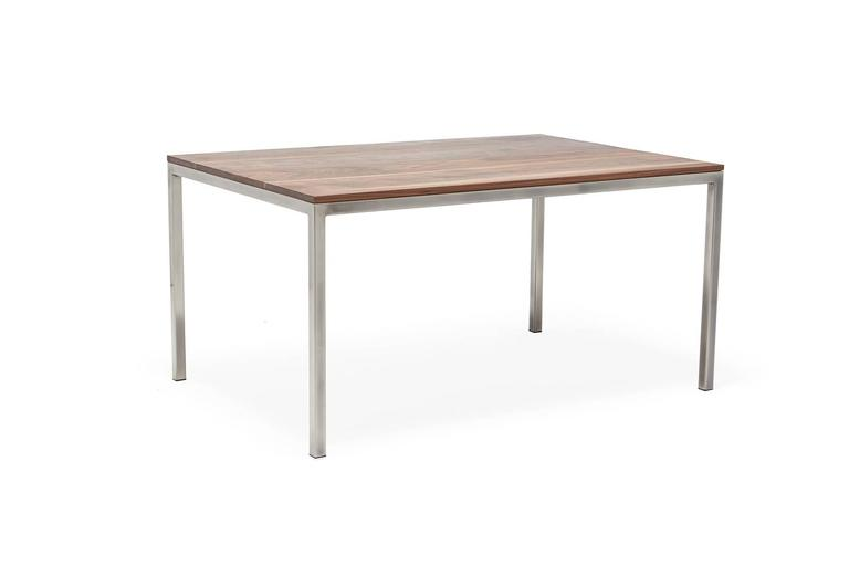 A newer addition to Stephen Kenn's The Inheritance Collection-dining. A solid walnut and steel dining table with simple, minimal and modern lines. Pairs well with the Inheritance Dining Chair.