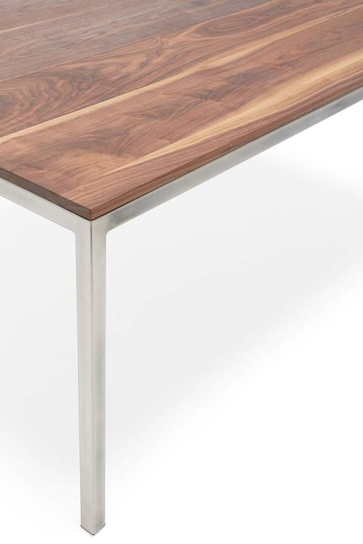 Plated Walnut and Antique Nickel Small Dining Table For Sale