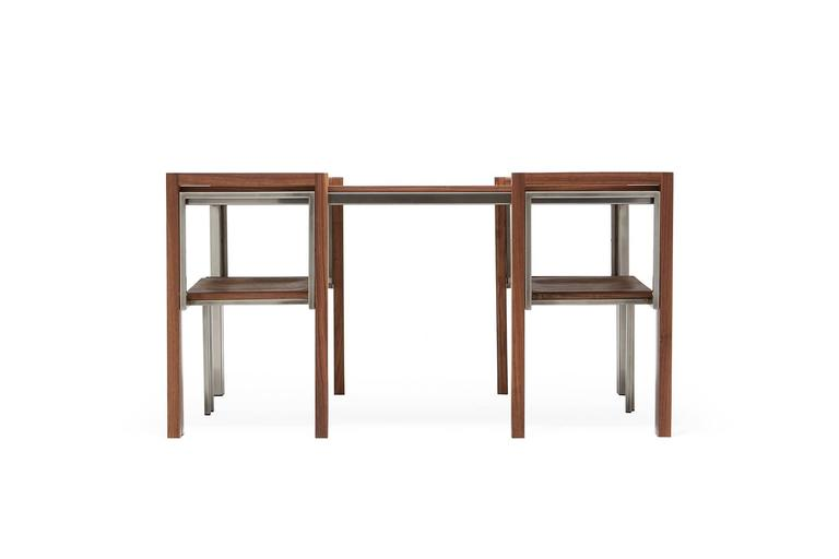 Plated Walnut and Antique Nickel Dining Set with Four Dining Chairs For Sale