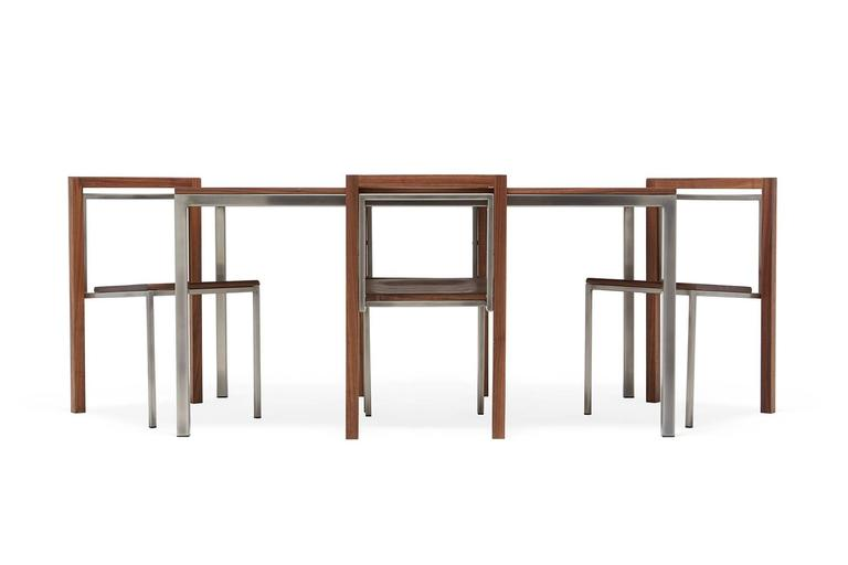 American Walnut and Antique Nickel Dining Set with Four Dining Chairs For Sale