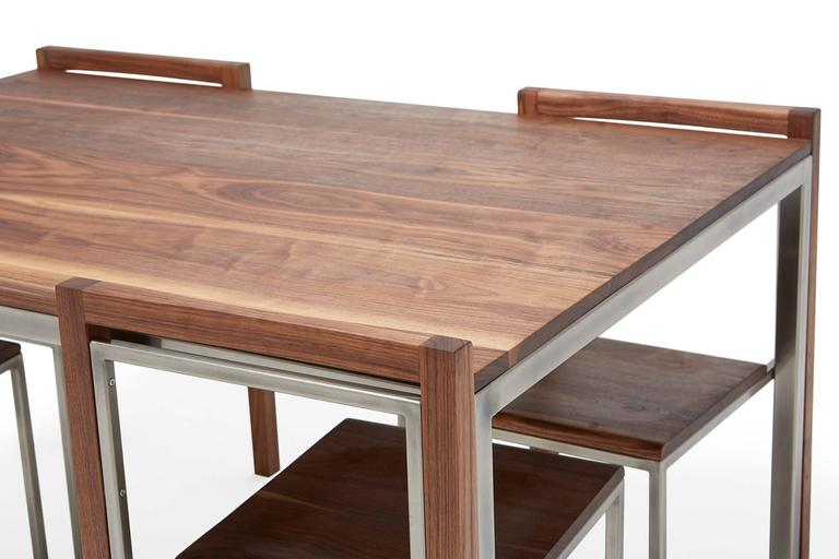 Modern Walnut and Antique Nickel Dining Set with Four Dining Chairs For Sale