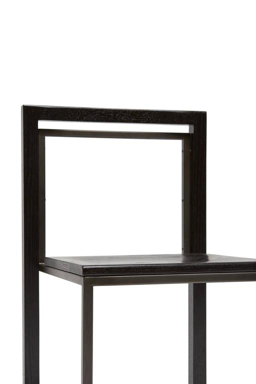 American Ebonized Oak and Blackened Steel Dining Chair For Sale