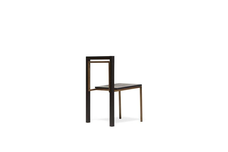 Modern Ebonized Oak and Antique Brass Dining Chair For Sale