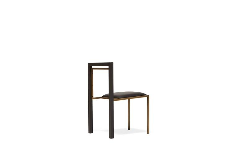 Modern Black Leather and Blackened Steel Dining Chair For Sale