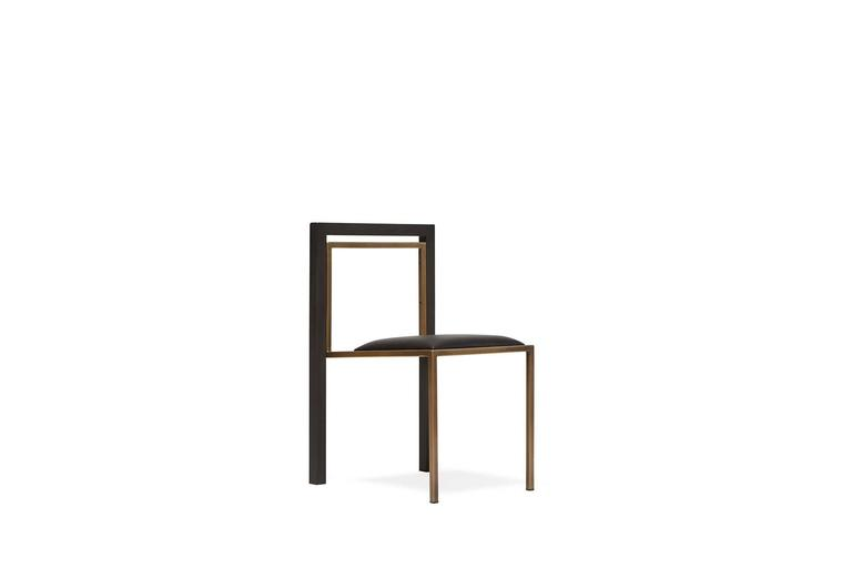 American Black Leather and Blackened Steel Dining Chair For Sale