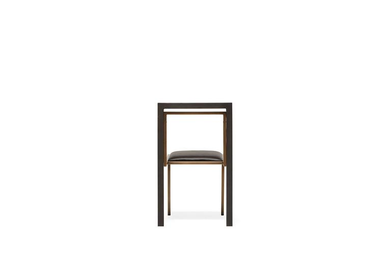 Black Leather and Blackened Steel Dining Chair In New Condition For Sale In Los Angeles, CA
