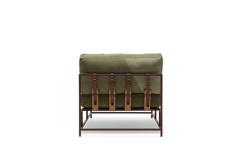 American Vintage Military Canvas and Marbled Rust Chaise Longue For Sale