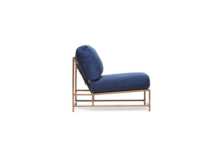 Modern Indigo Canvas and Antique Copper Chair For Sale