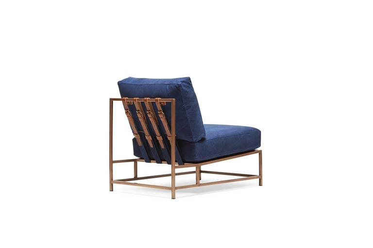 Indigo Canvas and Antique Copper Chair In New Condition For Sale In Los Angeles, CA