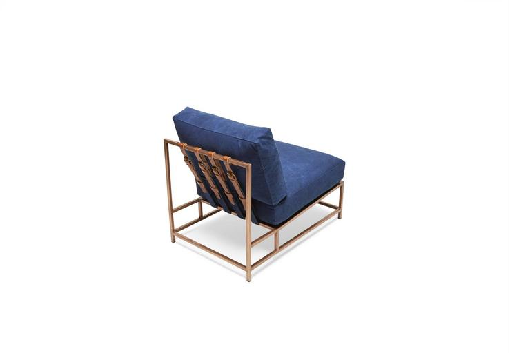 Contemporary Indigo Canvas and Antique Copper Chair For Sale