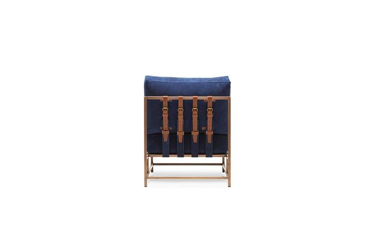 American Indigo Canvas and Antique Copper Chair For Sale