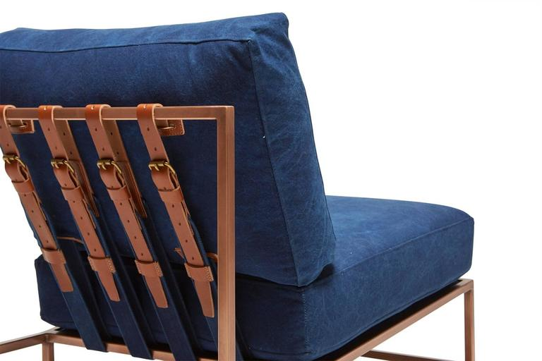 Steel Indigo Canvas and Antique Copper Chair For Sale