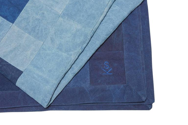 Modern Quilted Indigo Canvas Throw Blanket V1 For Sale