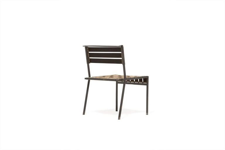 American Outdoor Tan and Charcoal Dining Chair For Sale