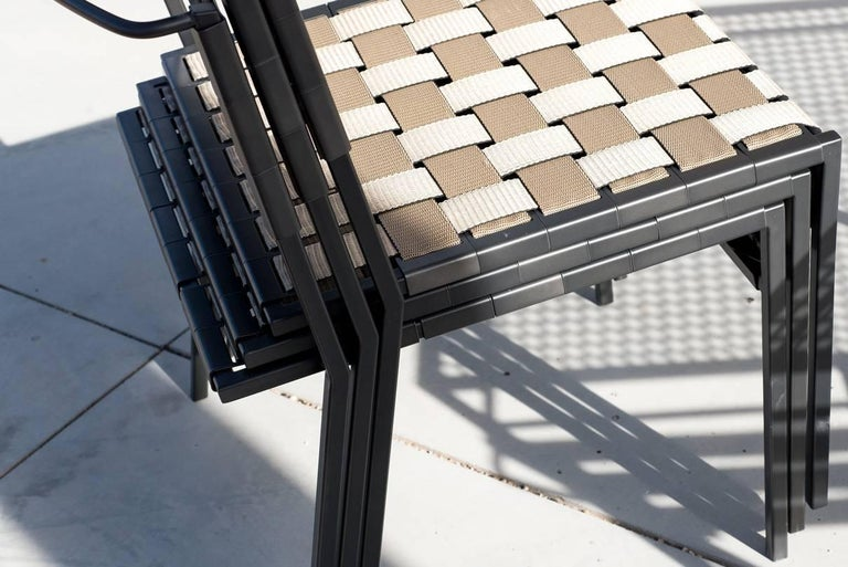 Outdoor Tan and Charcoal Dining Chair For Sale 7
