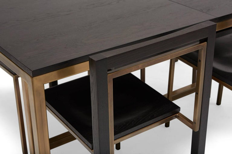 Steel Ebonized Oak and Antique Brass Large Dining Table For Sale