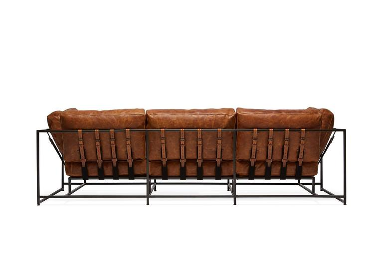 Modern Cognac Brown Leather and Blackened Steel Sofa For Sale
