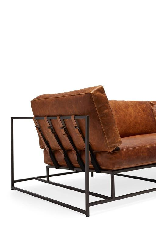 American Cognac Brown Leather and Blackened Steel Sofa For Sale