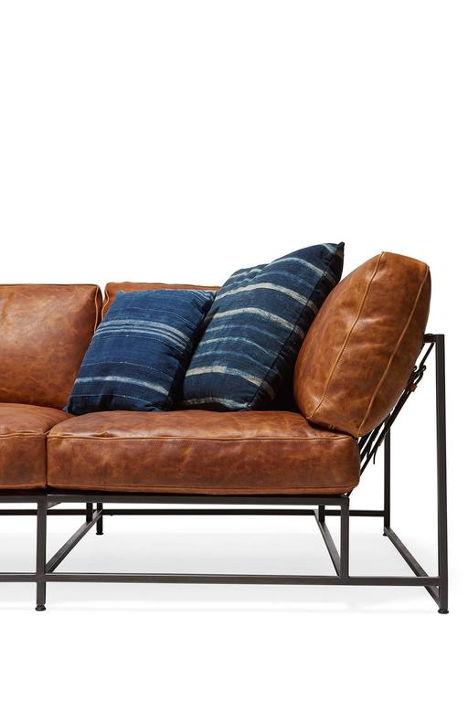 Cognac Brown Leather and Blackened Steel Sofa For Sale 3