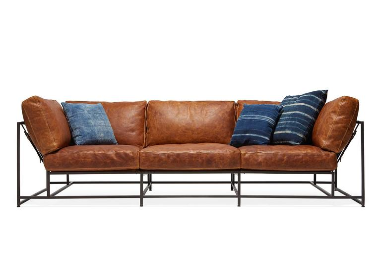 Cognac Brown Leather and Blackened Steel Sofa For Sale 2