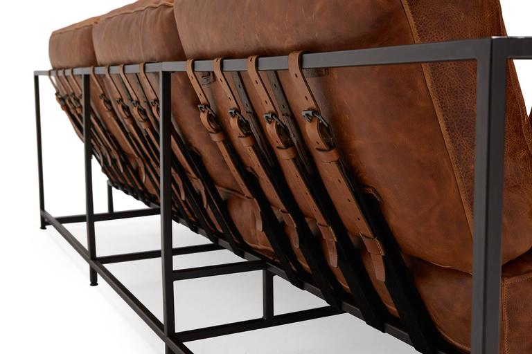 Cognac Brown Leather and Blackened Steel Sofa In New Condition For Sale In Los Angeles, CA