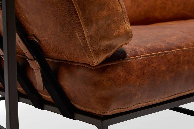 Cognac Brown Leather and Blackened Steel Sofa For Sale 1