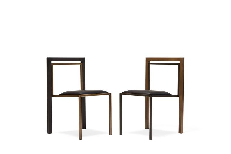 Contemporary Black Leather and Blackened Steel Dining Chair For Sale