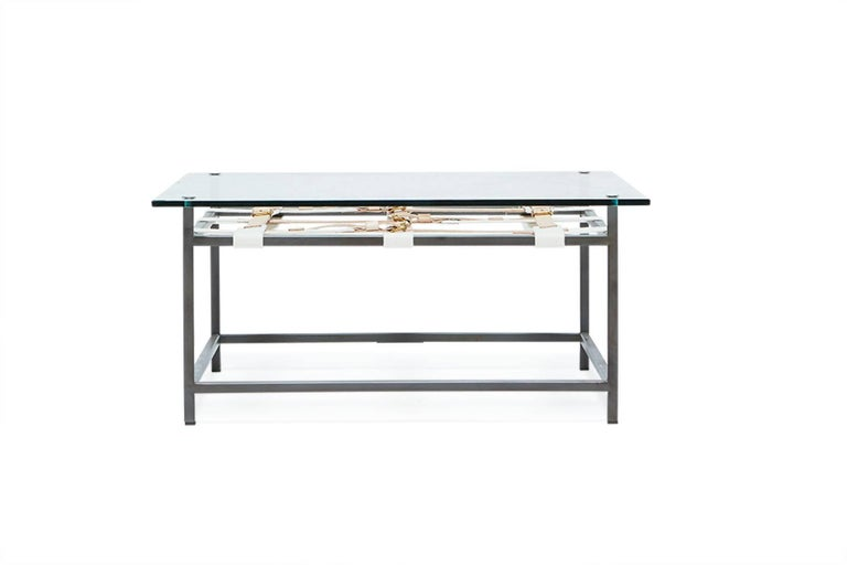 Glass coffee table with blackened steel frame and belts for Metal frame glass coffee table