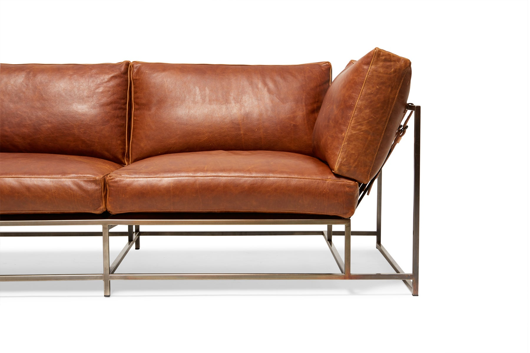 Potomac Leather And Antique Nickel Two Seat Sofa For Sale At 1stdibs