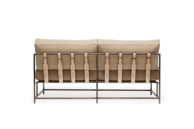 Modern Tan Wool and Antique Nickel Loveseat For Sale