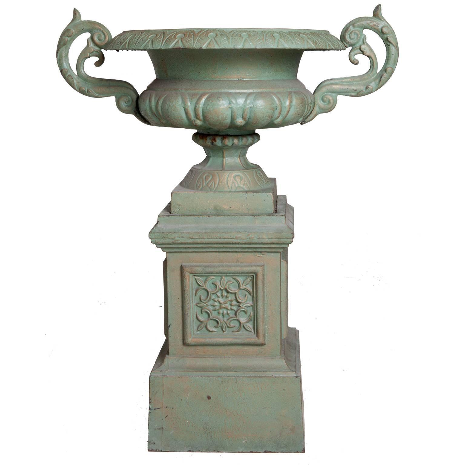 Pair of Cast-Iron Urns