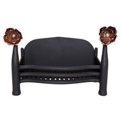20th Century Art Nouveau Copper and Cast-Iron Fire Basket