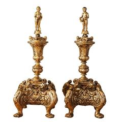 20th Century Brass Cherub Fire Dogs, Andirons