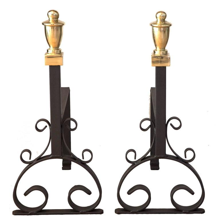 19th Century Cast Iron And Brass Fire Dogs or Andirons For Sale