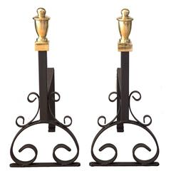 19th Century Cast Iron And Brass Fire Dogs or Andirons