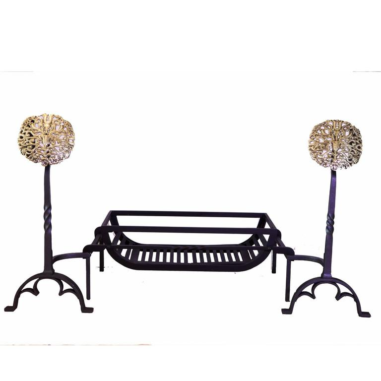 19th Century Victorian Cast-Iron and Brass Fire Dogs, Andirons In Excellent Condition For Sale In London, GB