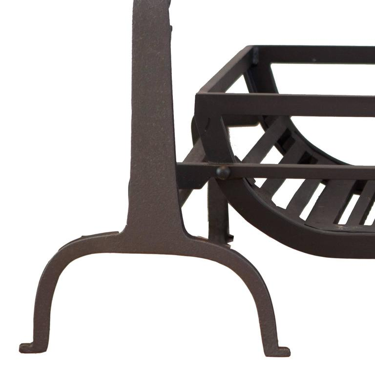 Blackened 19th Century English Cast Iron Fires Dogs, Andirons For Sale