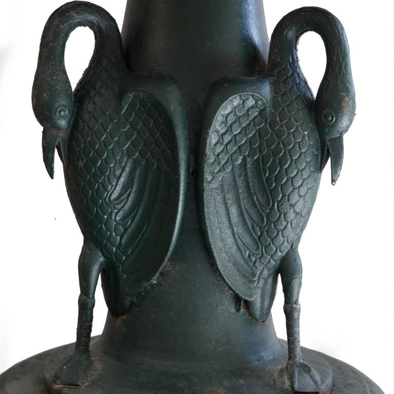 Vintage Green Cast Iron Three-Tier Heron Reclaimed Fountain In Good Condition For Sale In London, GB