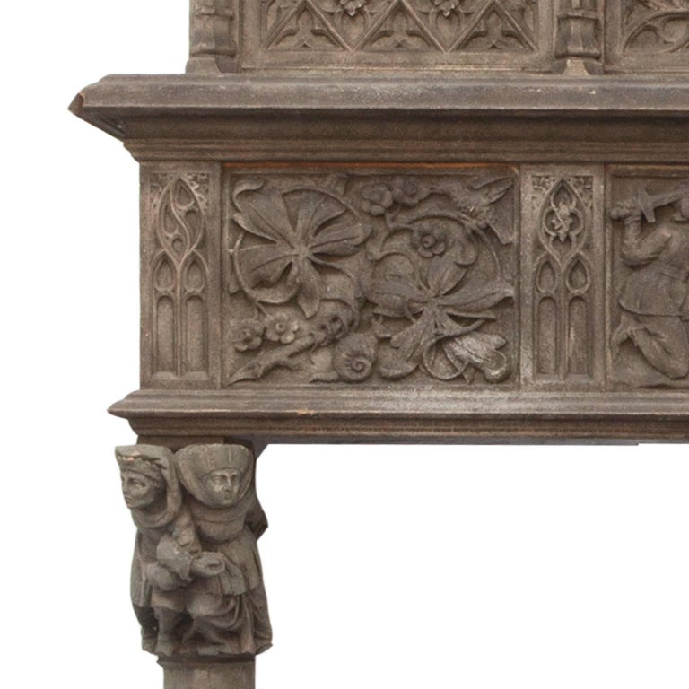 19th Century Rare English Walnut Gothic Fireplace Surround and Over-Mantle 2