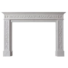 18th Century Georgian Style Hand-Carved White Marble Fireplace Mantle